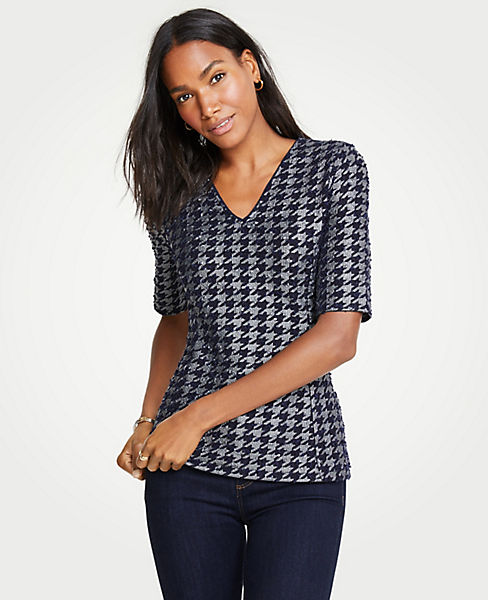 Petite Shimmer Houndstooth Elbow Sleeve Top