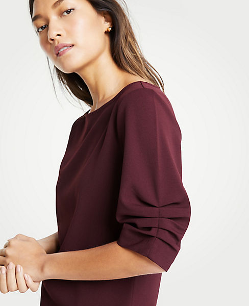 Petite Ruched Short Sleeve Top