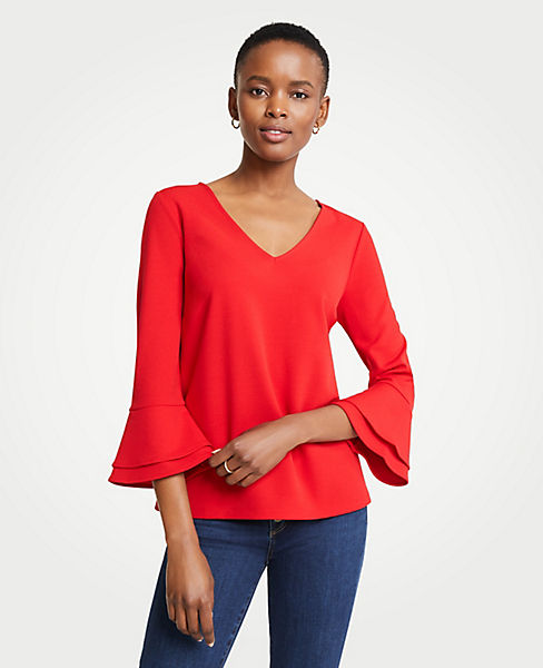 Petite V-Neck Flare Sleeve Top