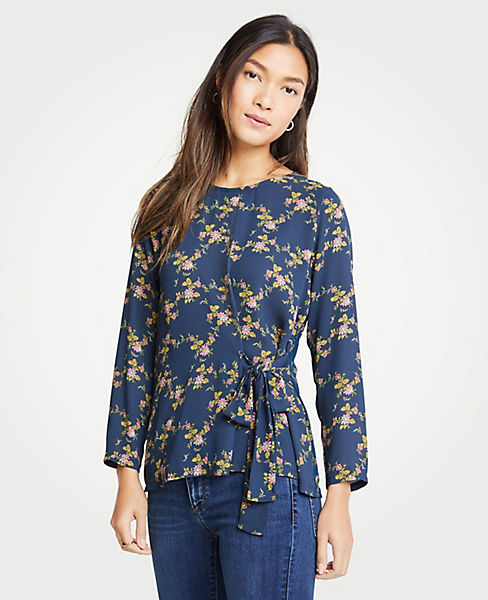 Petite Floral Side Tie Mixed Media Top