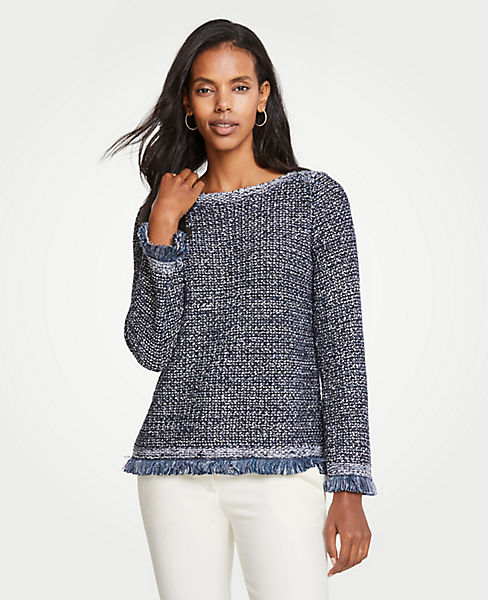 Petite Sequin Fringe Sweater