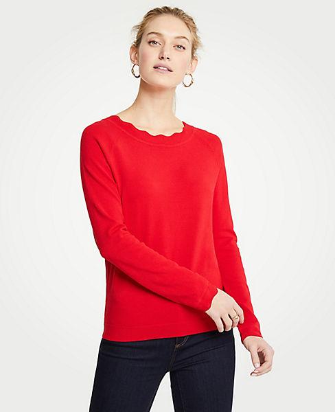 Petite Scalloped Sweater