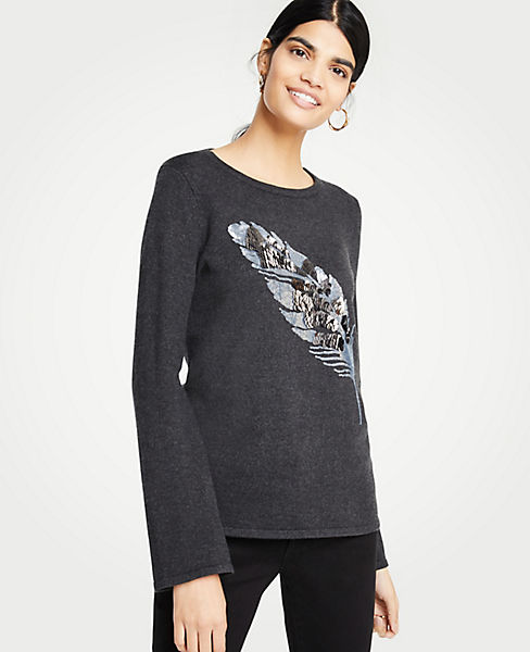Petite Embellished Feather Sweater
