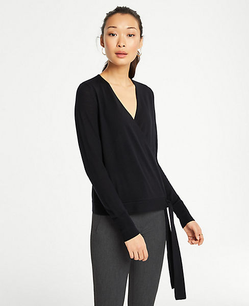 Petite Extrafine Merino Wool Wrap Sweater