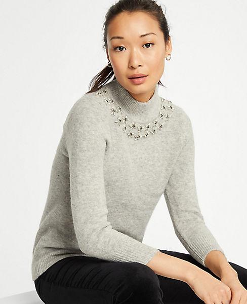 Petite Jeweled Mock Neck Sweater