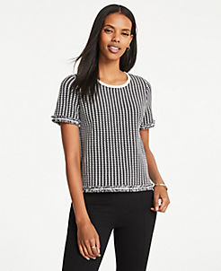 a30ae9f3956 Houndstooth Fringe Sweater Tee