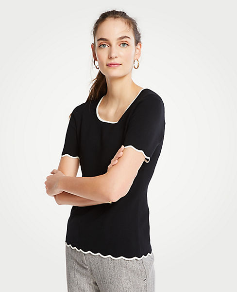 Scalloped Sweater Tee by Ann Taylor