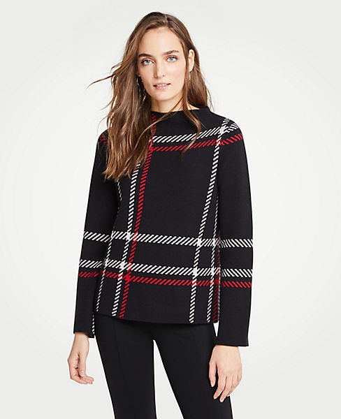 Petite Plaid Mock Neck Sweater