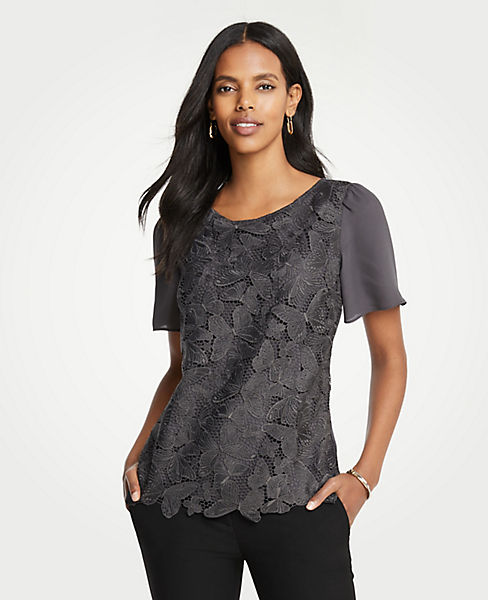 Petite Butterfly Lace Woven Tee