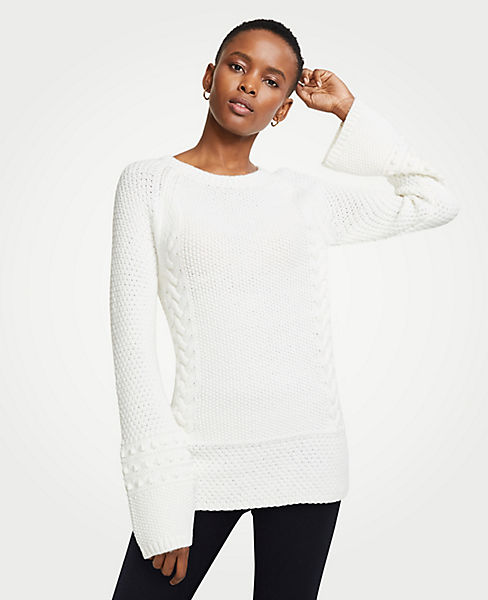 Petite Crew Neck Cable Knit Sweater