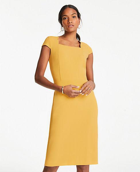 e0eeaa339 Scalloped Square Neck Cap Sheath Dress | Ann Taylor