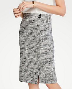 aec9a4d676bdac Tweed Button Waist Pencil Skirt
