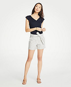 Ann Taylor Linen Shorts Sz 14 Women Pockets Striped Summer Fashion 4.5 Inseam Women's Clothing Shorts