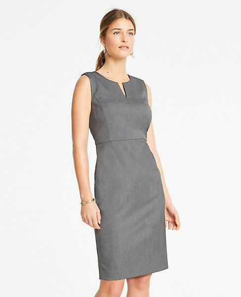 6f1f9851 The Split-Neck Sheath Dress in Sharkskin | Ann Taylor