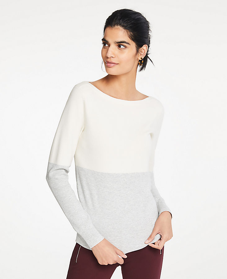 a588d31974 Colorblock Boatneck Sweater