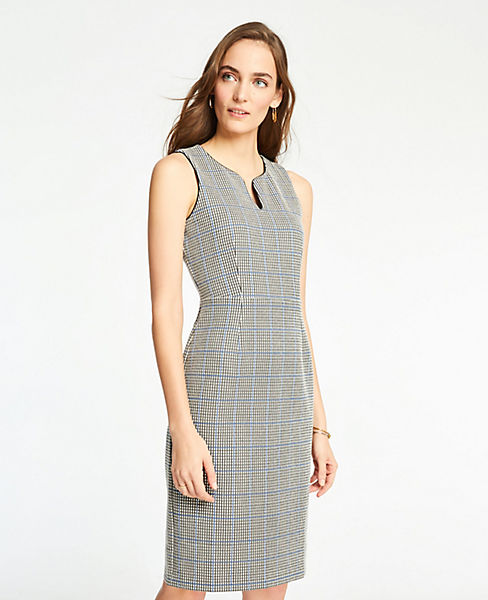 Petite Plaid Knit Sheath Dress