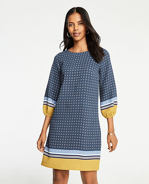 Petite Scarf Print Lantern Sleeve Shift Dress
