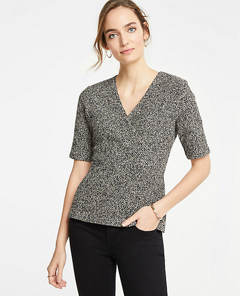Petite Shimmer Crossover Top
