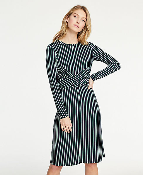 Petite Striped Matte Jersey Wrap Dress