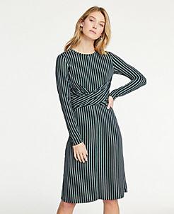 a68e71af2b Petite Striped Matte Jersey Wrap Dress
