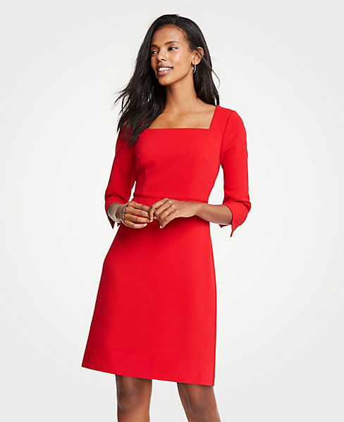 Petite Doubleweave Square Neck Flare Dress