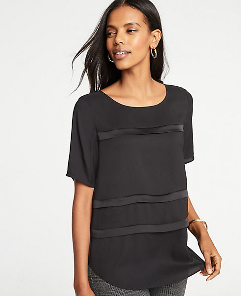 Petite Shimmer Striped Tee