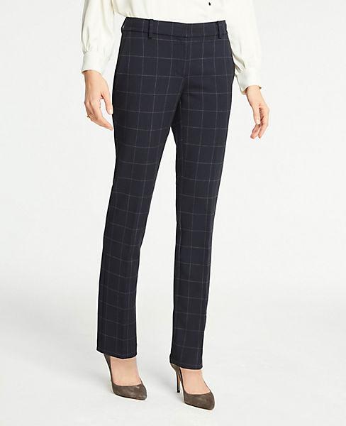 The Petite Straight Leg Pant In Windowpane - Curvy Fit