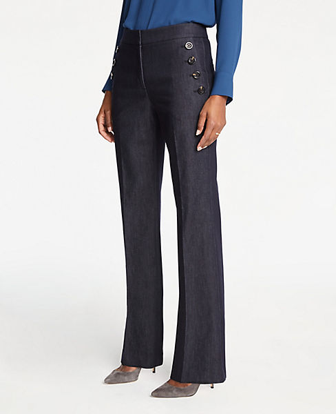 Petite Faux Denim Sailor Flare Trousers