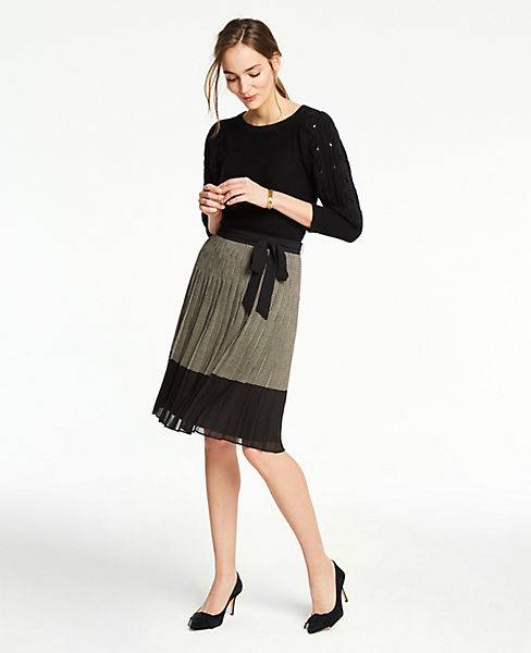 Petite Plaid Tie Waist Pleated Skirt