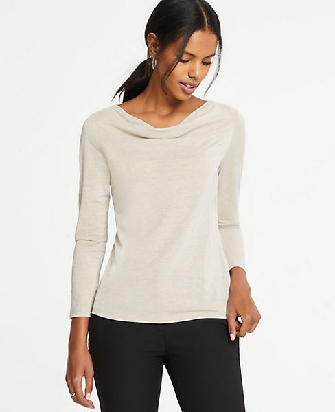 Petite Shimmer Cowl Neck Top