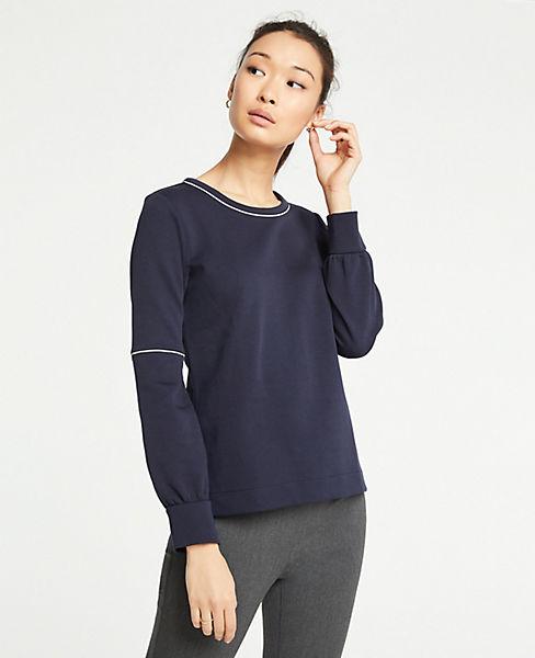 Petite Piped Lantern Sleeve Sweatshirt