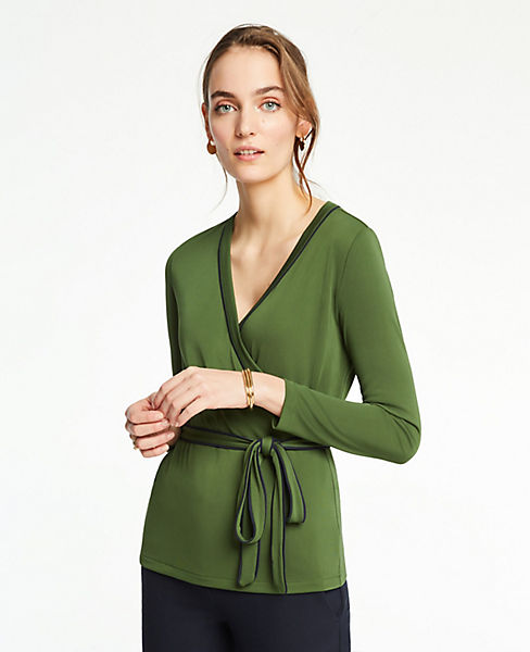 Petite Piped Belted Wrap Top