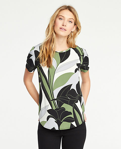 Petite Colorblock Floral Mixed Media Tee
