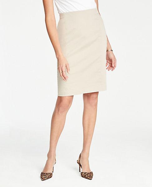 Petite Pencil Skirt in Cotton Sateen
