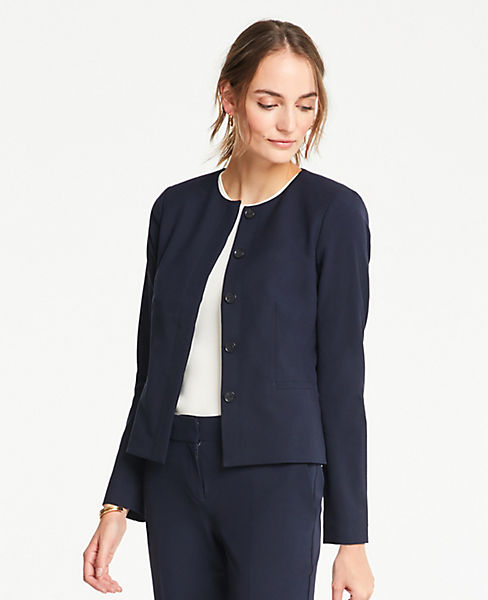 acb342e9c The Petite Crew-Neck Jacket in Seasonless Stretch by Ann Taylor