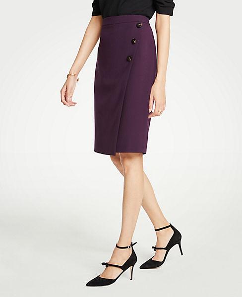 Petite Doubleweave Side Button Wrap Pencil Skirt