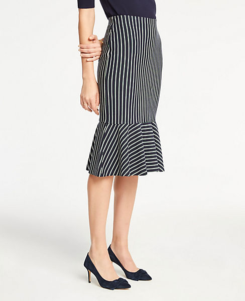 Petite Pinstripe Flounce Knit Pencil Skirt