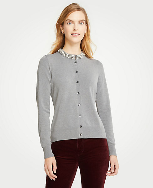 Petite Jeweled Neck Ann Cardigan