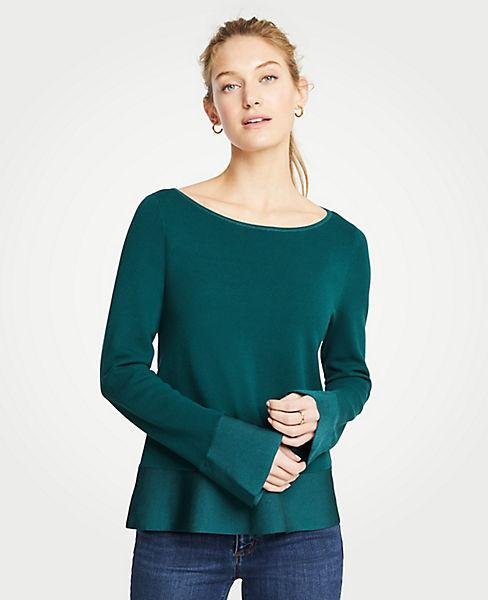 Petite Boatneck Flare Sleeve Milano Sweater