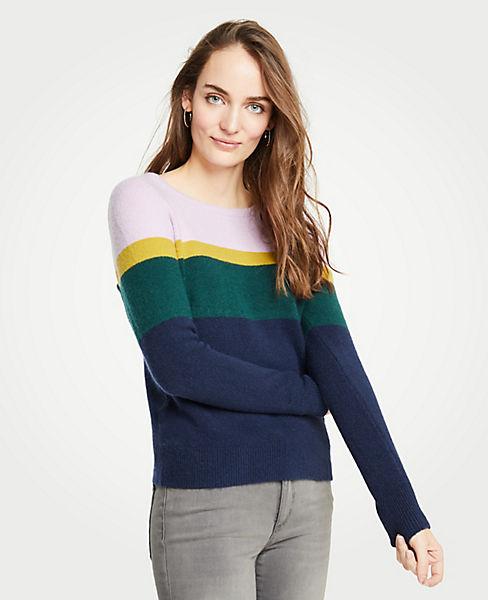 Petite Colorblock Crew Neck Pullover