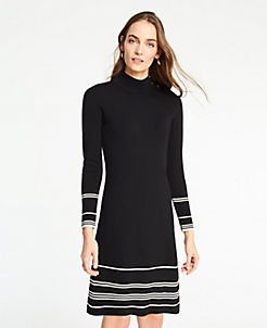 5c0a80e9012d Tall Stripe Button Turtleneck Sweater Dress