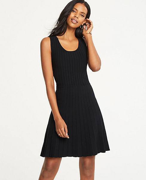 Petite Pleated Flare Sweater Dress