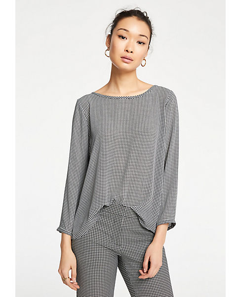 Petite Plaid Back Pleat Blouse