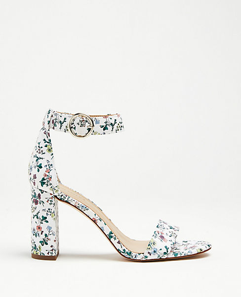 a1fe50d3f Leannette Floral Leather Block Heel Sandals