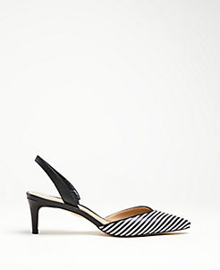 5642c1582477 Elora Striped Leather Slingback Pumps