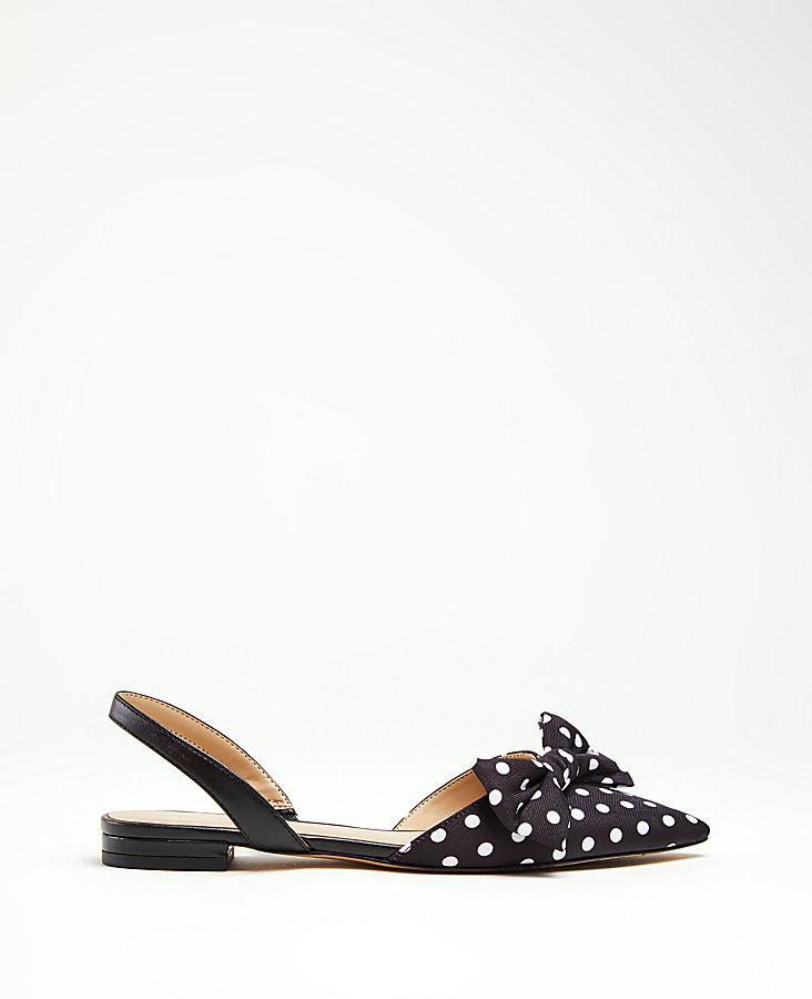 6a71d911f8d Jacy Polka Dot Bow Leather Slingback Flats
