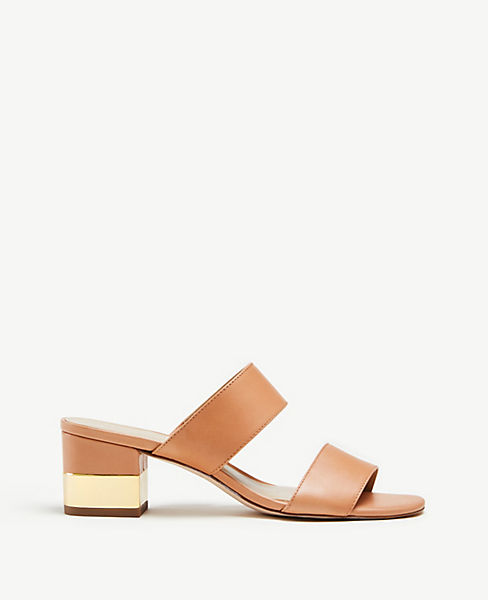 Liv Leather Block Heel Sandals by Ann Taylor