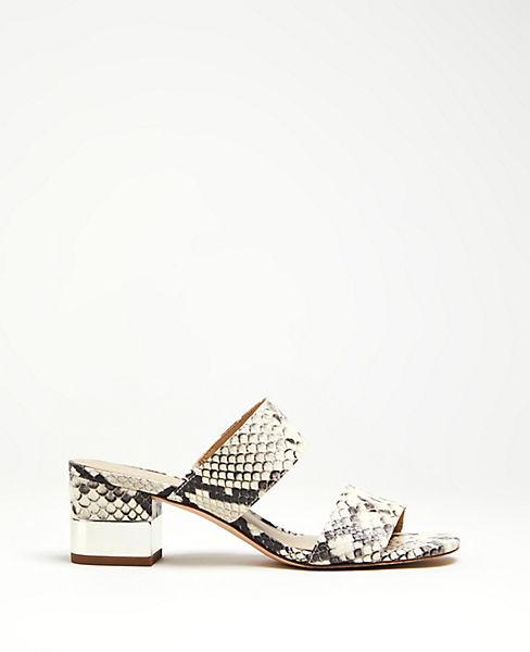 3b4e5e3c5abe9 Liv Snakeskin Print Block Heel Leather Sandals