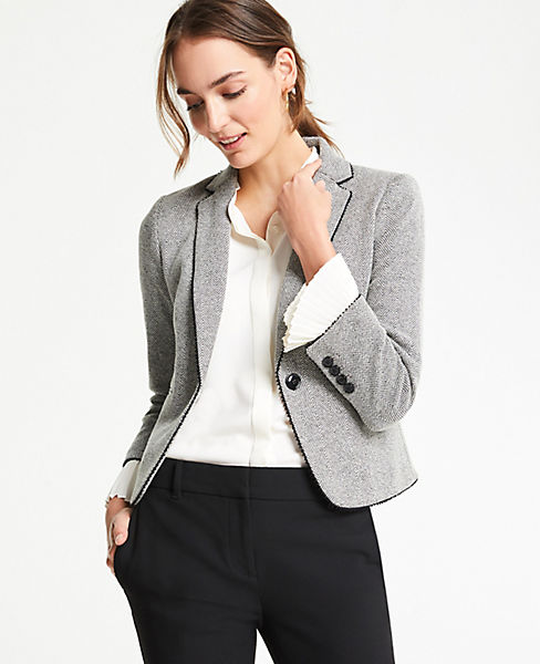 The Petite Newbury Blazer in Herringbone