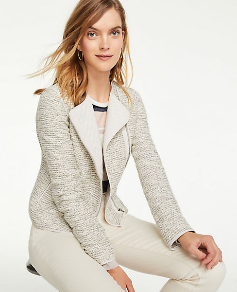 Petite Quilted Tweed Moto Jacket